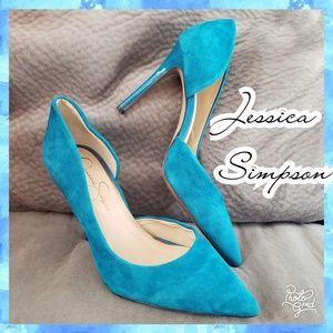 Jessica Simpson heel pump suede teal